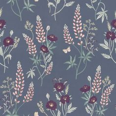 Emma by Sandberg - Navy : Wallpaper Direct Navy Wallpaper, More Wallpaper, Flower Wallpaper, Pattern Wallpaper, Bedroom Wallpaper, Cool Wallpapers For Bedroom, Hawaiian Party Decorations, Boutique Deco, Vinyls