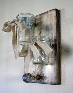 Double Wall Vase-Shabby Elegance Collection French White Mason Jar and Peg Wall Decor-In Stock Ready To Ship Hanging Mason Jars, Mason Jar Vases, Bottles And Jars, Mason Jar Crafts, Diy Wood Projects, Wood Crafts, Home Projects, Diy Crafts, Peg Wall