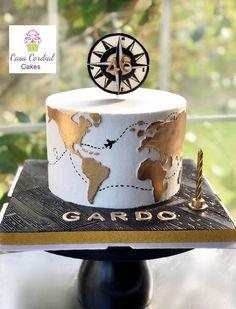 travel cake ideas the world / travel cake ; travel cake ideas the world Birthday Cakes For Men, Homemade Birthday Cakes, Men Birthday Cakes, 30th Birthday, Cool Wedding Cakes, Wedding Cake Toppers, Africa Cake, Bolo Fondant, Map Cake