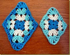 crochet granny diamond (rather than square) - trebles in corners on long diagonal, double crochet everywhere else - neat