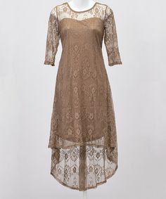 Look at this #zulilyfind! Coffee Lace Overlay Hi-Low Dress - Women by Bacci #zulilyfinds