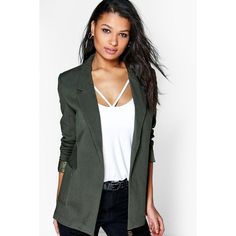 Boohoo Mia Tailored Blazer ($26) ❤ liked on Polyvore featuring outerwear, jackets, blazers, khaki, khaki jacket, quilted jacket, duster coat, quilted bomber jacket and tailored jacket