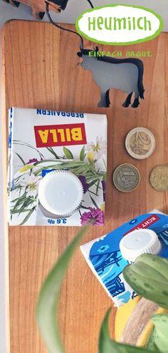 Aus einer alten Heumilch-Packung eine Geldbörse zaubern; einfach, nachhaltig und urgut! Diy Upcycling, Paper, Diy Purse, Hay, Craft Tutorials, Funny Sayings, Packaging