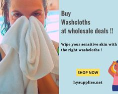 Choose the soft, cotton washcloths from HY Supplies Inc to wipe your sensitive skin !! #washcloths #facetowels #facialtowels #facecloth #towels #freshface #makeuptowels Fresh Face, Beauty Industry, Washing Clothes, Sensitive Skin, Facial, Towel, Clean Face, Facial Treatment, Facial Care