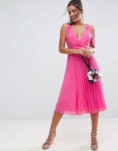 ASOS Cami Strap Tie Pleated Midi Dress - Multi Bretelles, Robe Midi  Plissée, Robes 497fdf82a4ad