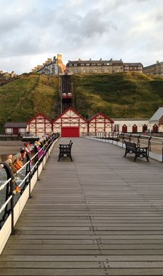 A view of the of the cliff lift from the pier. Saltburn by the Sea on the North East coast. Thing 1, Travel England, Bays, Cliff, Great Britain, East Coast, Yorkshire, Beaches, Trains
