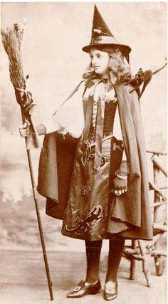 Vintage Halloween Costume / Witch / Broom / Black Cat / Witch Hat / Retro Photgraph