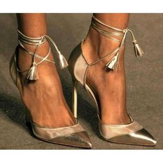 Shinning Ankle Wrap Straps Tassels Pointed Toe Stiletto High Heels #blahnik