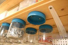 Peanut butter jars for garage organization. (For the garage I like them a little better than glass jars, shatter proof) Diy Garage, Garage Storage, Garage Tools, Garage Shop, Storage Shelves, Shelving, Reuse Jars, Peanut Butter Jar, Shed Organization