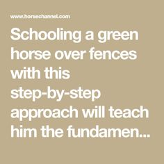 Schooling a green horse over fences with this step-by-step approach will teach him the fundamentals of jumping.