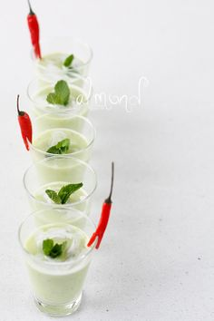 Avocado soup with coconut, lemongrass and mint