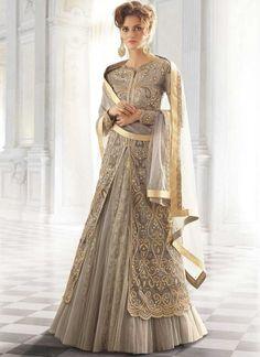 Grey Embroidery Work Net Crepe Jacquard Designer Long Wedding Lehenga Choli http://www.angelnx.com/Lehenga-Choli/Wedding-Lehenga-Choli