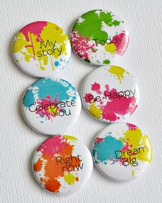 Sasha Farina's PERFECT flair buttons store- Paper Play on Etsy- My Story- set of six badges/ flair buttons