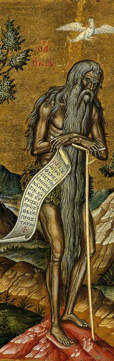 Saint Onuphrius In an earlier posting, I talked about the rather dubious saint Onuphrios the Great — another of those ascetics found in icons. (see: Today we will look at a very sophisticated century Gr… Byzantine Icons, Byzantine Art, Religious Icons, Religious Art, Greek Icons, Religious Paintings, Art Icon, Orthodox Icons, Sacred Art