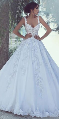 Alluring Tulle Sweetheart Neckline A-line Wedding Dress With Lace Appliques & Beadings #weddingdress #weddingdresses