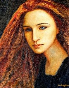 Red Haired Lady, Oil on Canvas (framed) 9 x 12 2005© Shijun Munns   #Art #OilPaintings #Portrait