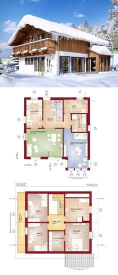 Einfamilienhaus Neubau im Alpenstil mit Satteldach & Holzfassade - Haus bauen Grundriss Celebration 150 V10 Bien Zenker Fertighaus Ideen - HausbauDirekt.de