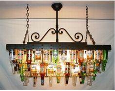 UNA LAMPARA DIFERENTE IDEAL BAR Reciclaje de botellas de cerveza!