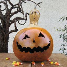 Halloween Gourd Jack O Lantern Ghost Top Natural Fall Harvest Pumpkin Decoration