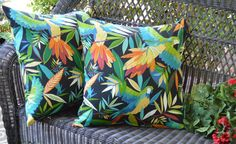 """Set of 2 Pillow Covers ~ Indoor / Outdoor 20"""" x 20"""" Tropical Bird Black Blue Green Red Decorative Pillow Covers"""