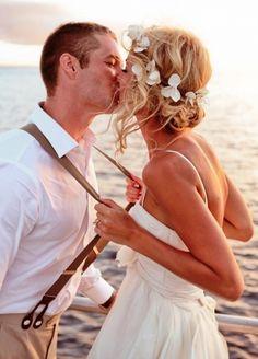 Beach bride's messy chignon bun bridal hair ideas  Toni Kami Wedding Hairstyles ♥ ❶ Kiss the groom wedding photograph