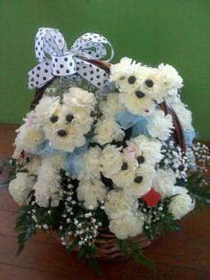 basket full of flower puppies made at Glendale flowers AZ Easter Flower Arrangements, Creative Flower Arrangements, Funeral Flower Arrangements, Funeral Flowers, Flower Crafts, Flower Art, Puppy Flowers, Deco Nature, Arte Floral