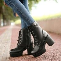 Chunky punk rock boots are great for winter weather