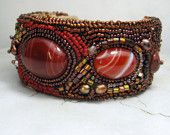 Beadwork Embroidered Cuff Bracelet, Gemstone Cabachon, Treasure of the Sierra Madre