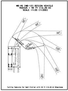 Landscape Architecture (Turning Radius of different size (semi) trucks) Architecture Symbols, Landscape Architecture, Factory Architecture, Driveway Design, Driveway Paving, Warehouse Design, Garage Dimensions, Bus Terminal, Semi Trailer
