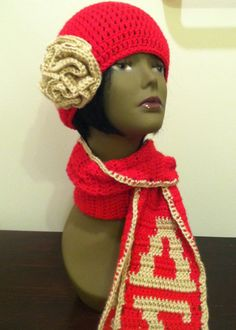 Delta Sigma Theta Hat and Scarf Set  Crochet in by DesiredCrochet, $47.70