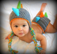 Dinosaur Crochet Hat and Diaper Cover Set.    I'm sorry--is this not the cutest thing you've ever seen. I want to have another baby just so he can wear this!