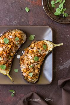 Couscous stuffed aubergines
