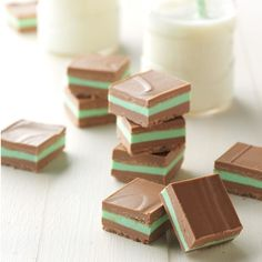 Layered Mint Candies Recipe -These incredible melt-in-your-mouth candies have the perfect amount of mint nestled between layers of mild chocolate. Even when I make a double batch for everyone to enjoy, the supply never lasts long at Christmas! Potluck Desserts, Desserts For A Crowd, Frozen Desserts, Easy Desserts, Healthy Desserts, Dessert Recipes, Custard Desserts, Quick Dessert, Simple Dessert