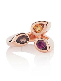 KAZO Rose Gold Mixed Gemstone Ring