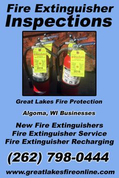 Fire Extinguisher Inspections Algoma, WI (262) 798-0444 Call the Experts at Great Lakes Fire Protection.. We are the complete source for Fire Extinguisher Service for Local Wisconsin Businesses We would love to hear from you.. Call us Today!
