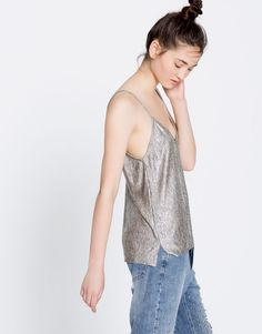 Metallic shimmer strappy top - Clothing - New - Woman - PULL&BEAR United Kingdom