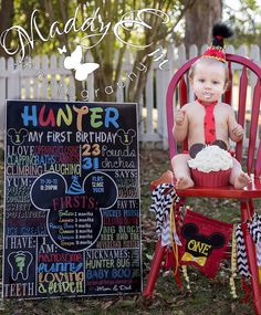 Mickey Mouse 1st Birthday, Mickey Mouse Chalkboard, first birthday mickey theme deco, mickey mouse clubhouse birthday party -ANY AGE! by CustomPrintablesNY on Etsy https://www.etsy.com/listing/188845400/mickey-mouse-1st-birthday-mickey-mouse