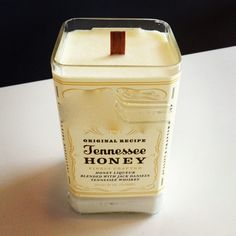 Honeysuckle Scented Soy Wax Candle in JD Honey Bourbon Bottle