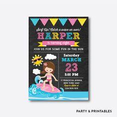 Surfer Girl Chalkboard Kids Birthday Invitation / Personalized (CKB.391)