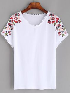 Shop White Lace Trim Embroidered T-shirt online. SheIn offers White Lace Trim Embroidered T-shirt & more to fit your fashionable needs.