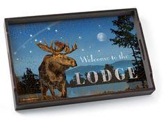 Night At The Lodge Wood Serving Tray