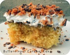 Butterfinger Caramel Cake Recipe from sixsistersstuff.com.  Just a few simple ingredients for an amazing dessert! #cake #dessert