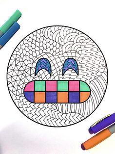 Grin Emoji  PDF Zentangle Coloring Page