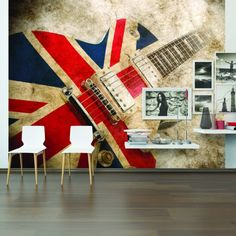Rock Guitar Wallpaper Mural feature wall for a Union Jack UK themed bedroom