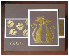 Embossed card used Marianne Design French Cats stamps and wooden stamp foot print