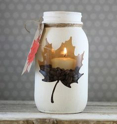 activite manuelle adulte, bricolage automne a faire vous memes, bougie decorativ… manual activity adult, DIY autumn to do yourself, decorative candle Diy Mason Jar Lights, Mason Jar Crafts, Mason Jar Diy, Navidad Diy, Ideias Diy, Diy Weihnachten, Diy Candles, Fall Diy, Fall Decor