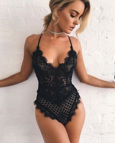 Womens Jumpsuit Sexy Lace Bodysuit Women Bodycon Jumpsuit Summer Cut Out Rompers Club Body Tops Overalls Feminino Playsuit. Sexy Lingerie, Lingerie Outfits, Babydoll Lingerie, Lace Bodysuit, Beautiful Lingerie, Lingerie Sleepwear, Lace Romper, Teddy Bodysuit, Bridal Lingerie