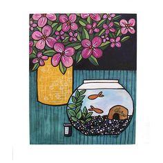 Goldfish Painting - Colorful Modern Still Life Original Art - Fish Bowl and Flower Vase Painting Yellow Vase, Black Vase, Blue Vases, White Vases, Original Art, Original Paintings, Diy Simple, Paper Vase, Floral Artwork