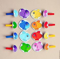 Matching fish Match every fish with its correct tail - preschool activity Educational Activities For Preschoolers, Montessori Activities, Color Activities, Infant Activities, Montessori Color, Diy For Kids, Crafts For Kids, Toddler Learning, Toddler Toys