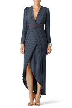 Rent Dove Grey Pleat Gown by GALVAN for $325 only at Rent the Runway.